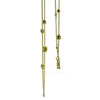 18K Yellow Gold Fancy Diamond Necklace