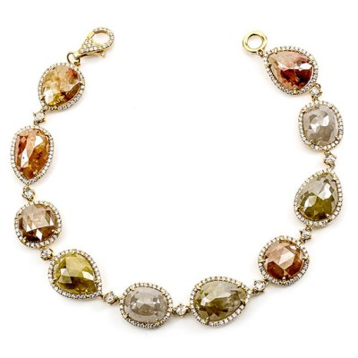 18K Yellow Gold Fancy Diamond Slices Bracelet