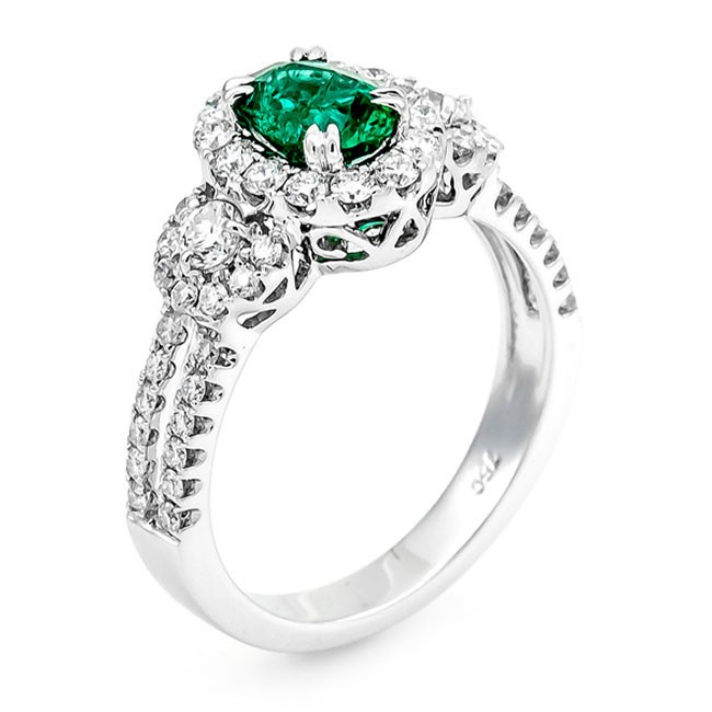 18K White Gold Emerald Ring