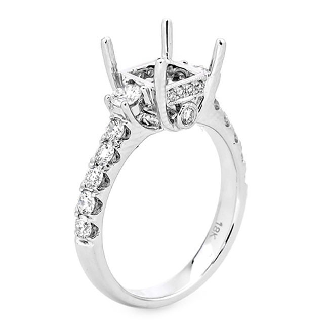 18K White Gold Semi-Mount for a Princess Cut Center