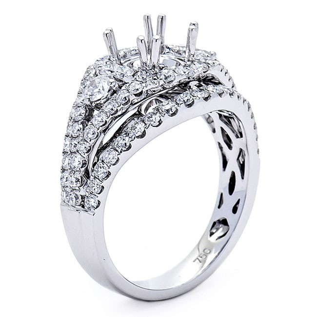 18K White Gold Semi-Mount for a 1ct Round Center