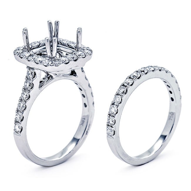 18K White Gold Semi-Mount Set for a 9mm Princess Cut Center