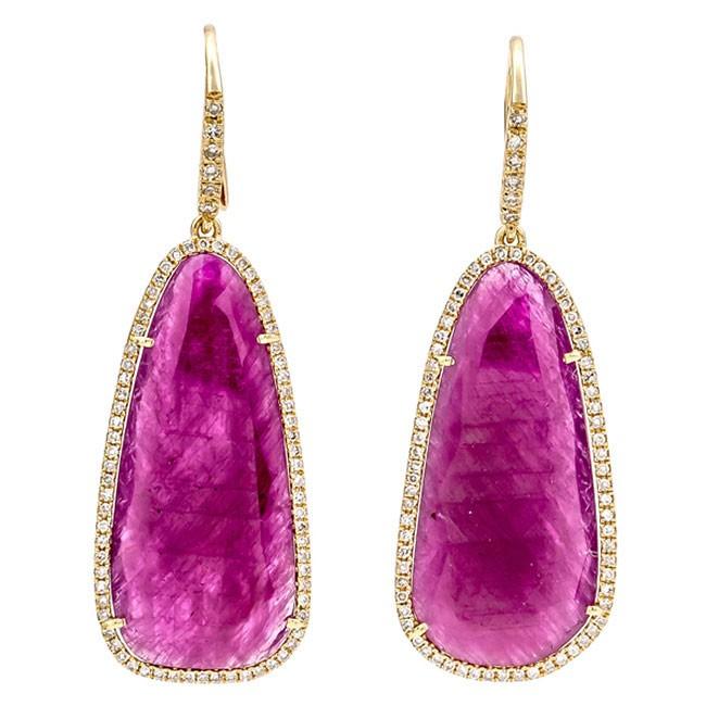 18K Yellow Gold Ruby Earrings