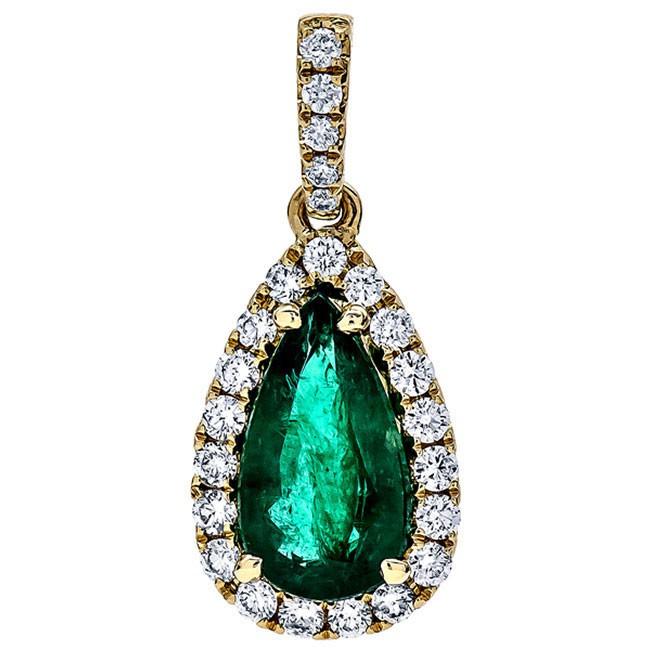 18K Yellow Gold Emerald Pendant