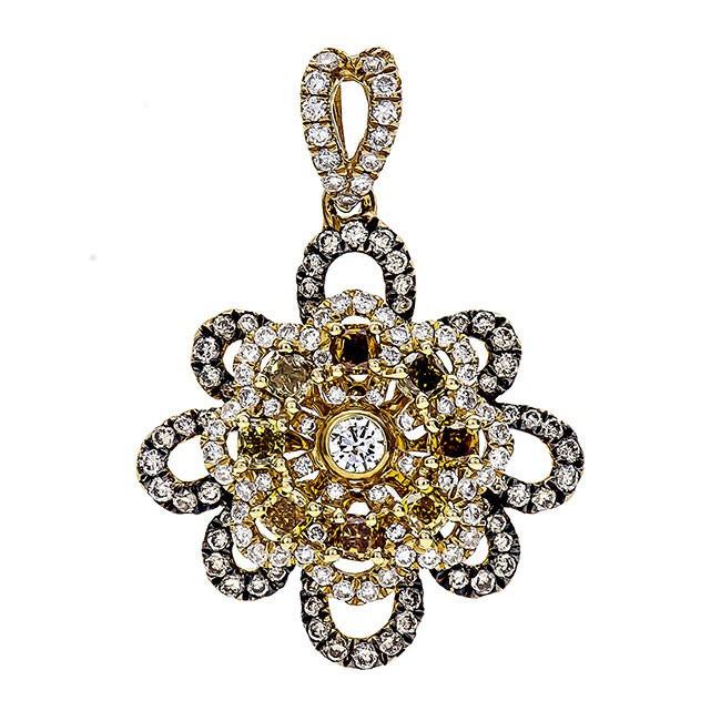 18K Yellow Gold Champagne Diamond Pendant