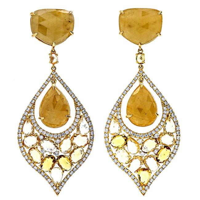 18K Yellow Gold Fancy Sapphire Earrings