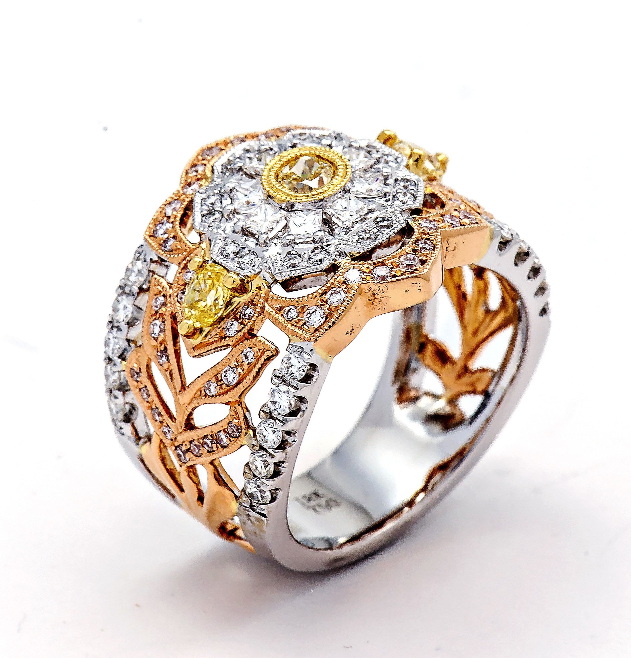 in tri cluster ring colored diamond bands gold tw