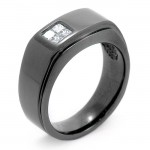 14K Black Rhodium Diamond Men's Band