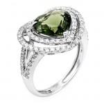14K White Gold Green Tourmaline Band
