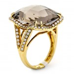 18K Yellow Gold Smoky Topaz Ring