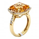 18K Yellow Gold Citrine Stone Ring