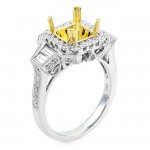 18K Two-tone Gold Semi-Mount for a Princess Cut Center
