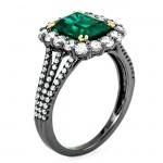 18K Black Rhodium Emerald Ring