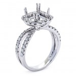 18K White Gold Semi-Mount for a 7x7mm Princess Cut Center