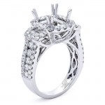 18K White Gold Semi-Mount for a 8x8mm Cushion Center