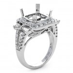 18K White Gold Semi-Mount for a 9.5mm Cushion Center