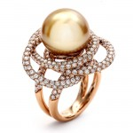 18K Rose Gold Gold Pearl Band