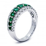 18K White Gold Emerald Band