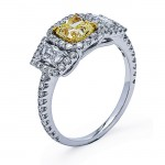 18K White Gold Yellow Diamond Ring