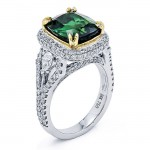 18K White Gold Green Tourmaline Ring