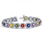 18K White Gold Fancy Sapphire Bracelet