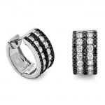 18K White Gold Black Diamond Huggies