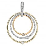 18K Tri-Color Gold Diamond Pendant
