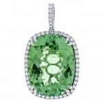 18K White Gold Green Tourmaline Pendant