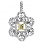 18K Two-tone Gold Yellow Diamond Pendant