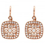 14K Rose Gold White Diamond Earrings
