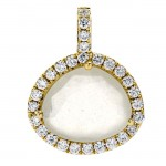 18K Yellow Gold White Moonstone Pendant
