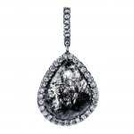18K Black Rhodium Diamond Slice Pendant
