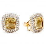 18K Yellow Gold Fancy Diamond Slice Studs