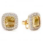 18K Yellow Gold Fancy Diamond Slice Studs