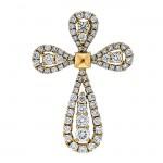 18K Yellow Gold Diamond Cross Pendants