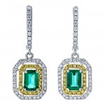 18K Two-tone Gold Emerald Earrings