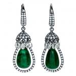 18K White Gold Emerald Earrings