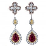 18K Tri-color Gold Ruby Earrings