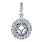 18K White Gold Pendant Semi Mount for a 5x7mm Oval Center