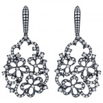 18K Black Rhodium Diamond Earrings