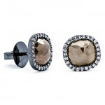 18K Black Rhodium Fancy Rustic Diamond Studs