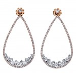 18K Two-tone Gold White Diamond Earrings