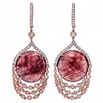 18K Rose Gold Fancy Sapphire Slice Earrings