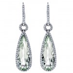 18K White Gold Green Quartz Earrings