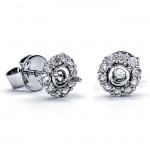 18K White Gold Semi-Mount for a 0.25ct Round Center Studs