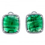 18K White Gold Fancy Emerald Slices Studs