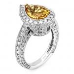 18K White Gold Yellow Sapphire Ring