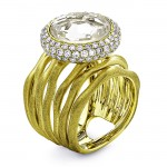 18K Yellow Gold Crystal Stone Ring