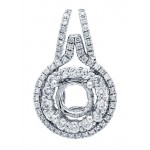 18K White Gold Pendant Semi-Mount for a 0.75ct Round Center