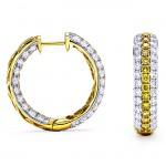 18K Two-tone Gold Yellow Diamond Hoops